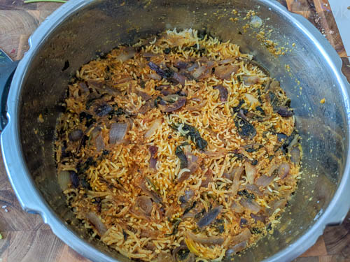 onion biryani after cooking