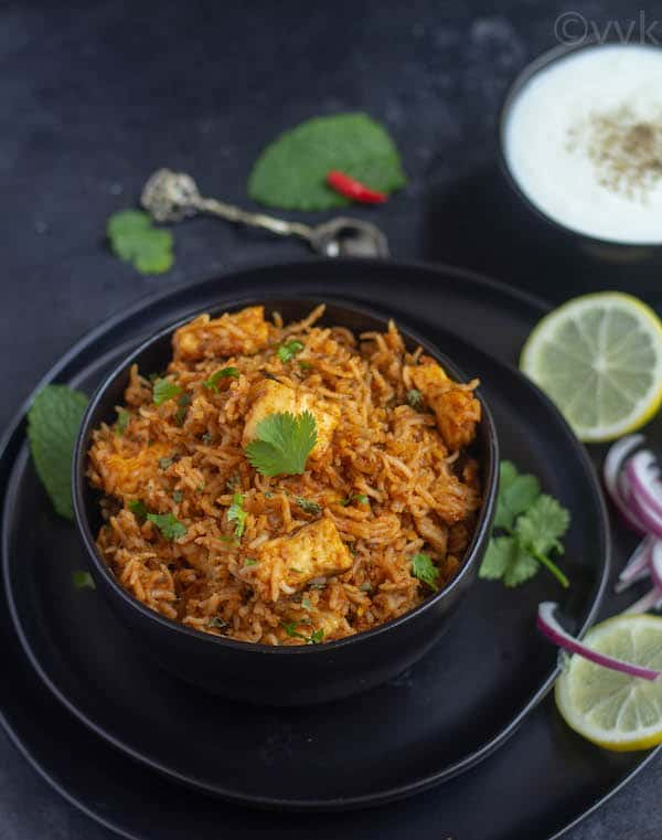 paneer makhani biryani close look