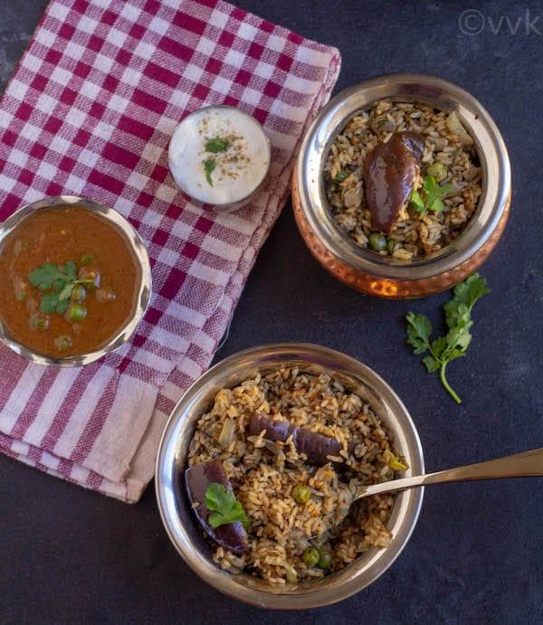 pressure cooker brinjal biryani with seeraga samba