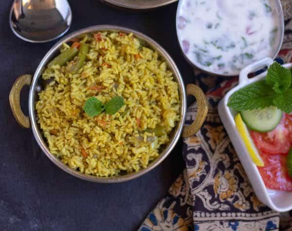 malabar veg biryani with raita