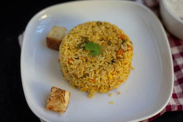 veg biryani close up look