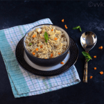 yakhni pulav in a bowl on a plate