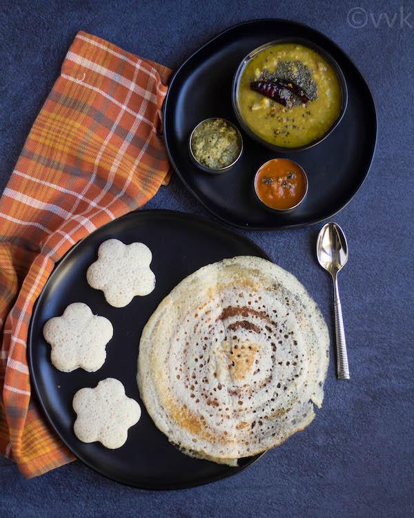 barley idli and dosa platter with chuntey and sambar