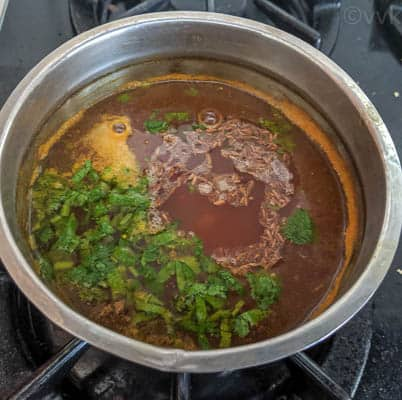 cherry rasam with tempering