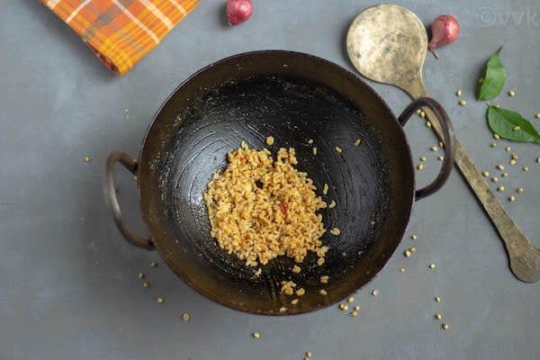 rice mixed with kuzhambu in the kadai