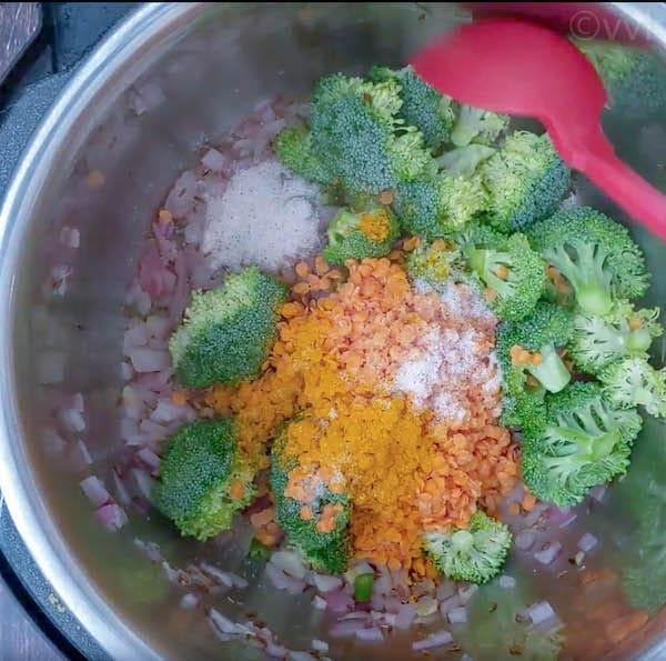 broccoli dal - adding broccoli dal and spices