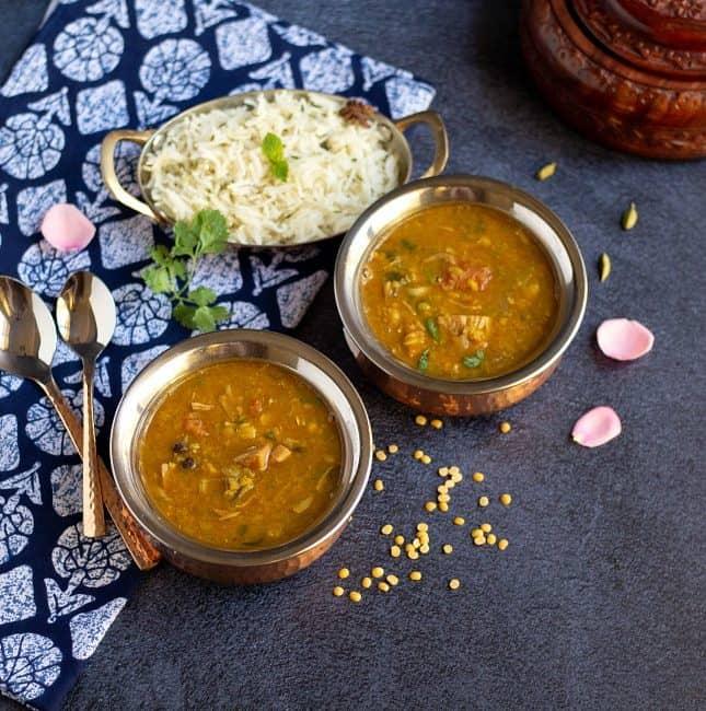 tender jackfruit curry in brasswares