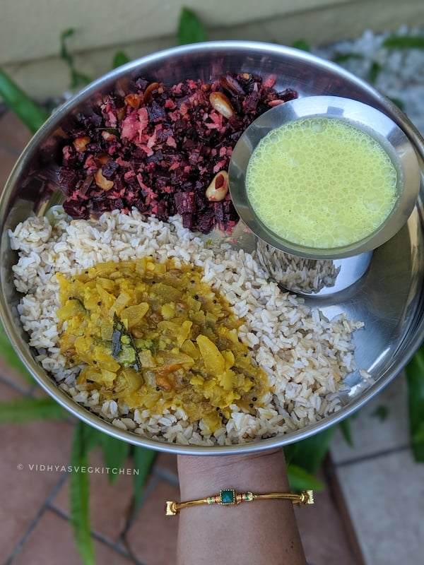 Everyday cooking - rice, sambar and beets curry