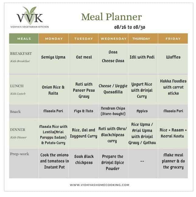 weekly meal / menu planner vvk style