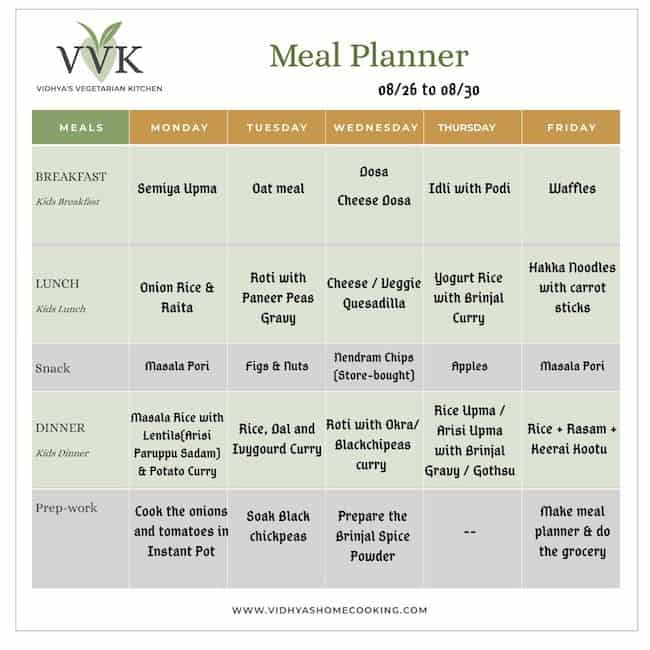 Weekly Meal Planner Aug 26 To 30 Vidhya S Vegetarian Kitchen