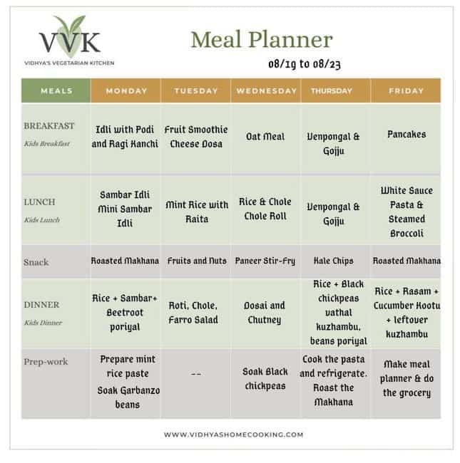 Weekly Menu Planner - 0819 to 0923