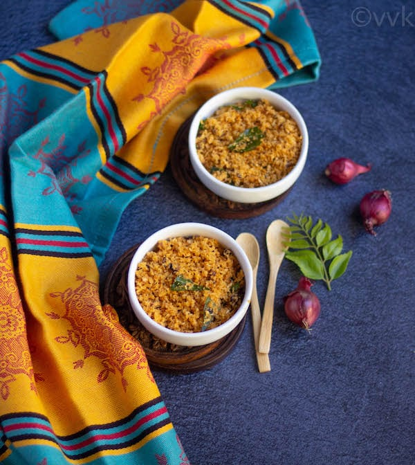 kerala style dry coconut chutney wrapped with yellow and blue fabric