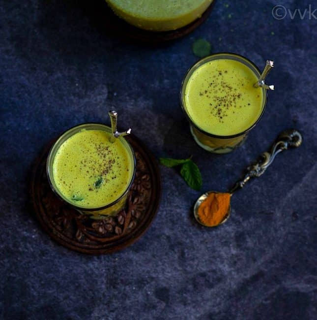 turmeric and mint buttermilk in two glasses