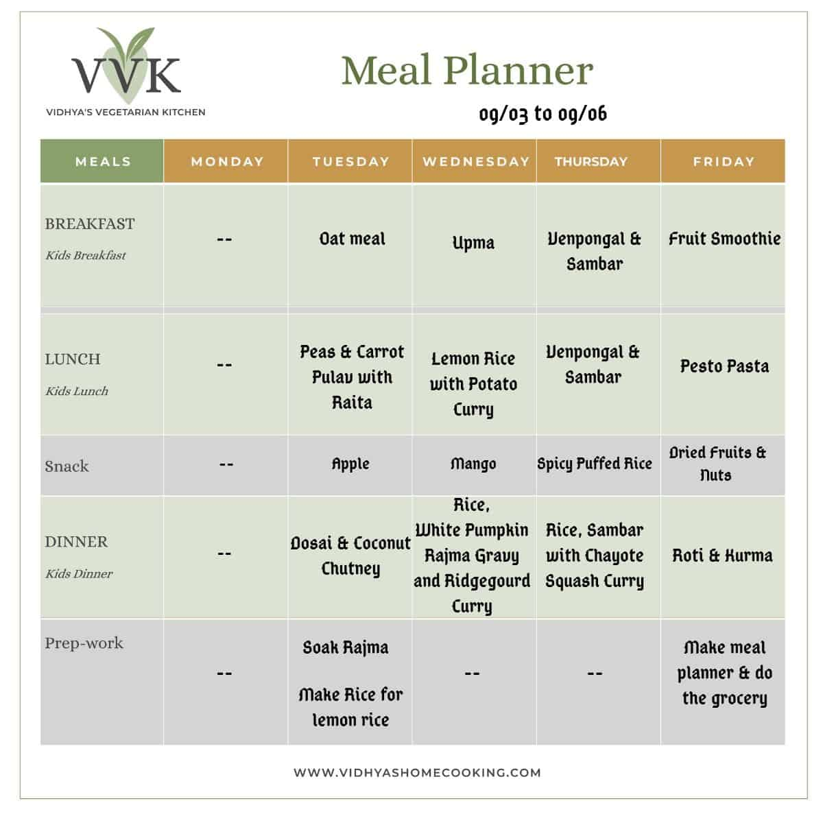 weekly meal planner - 0309