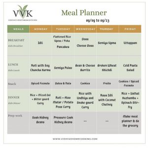 meal planner for the week of sept 9 to 13
