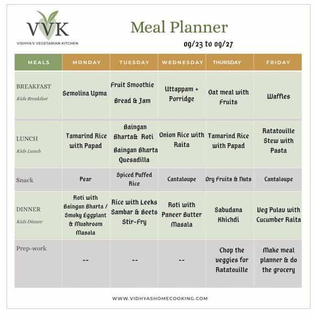 vegetarian meal planner