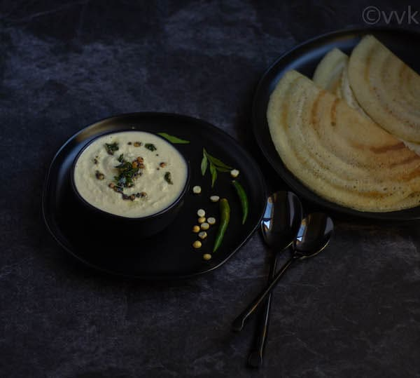 coconut chutney served with crispy dosa