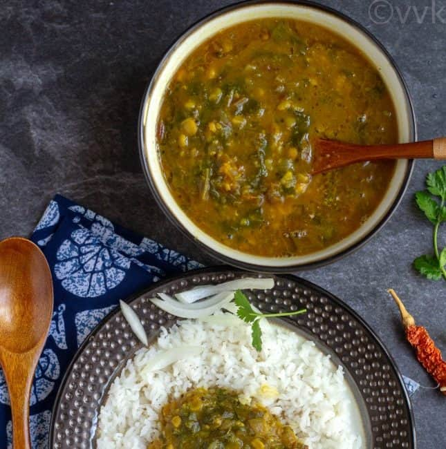 mixed dal tadka with beet greens in a bowl and on a plate with rice