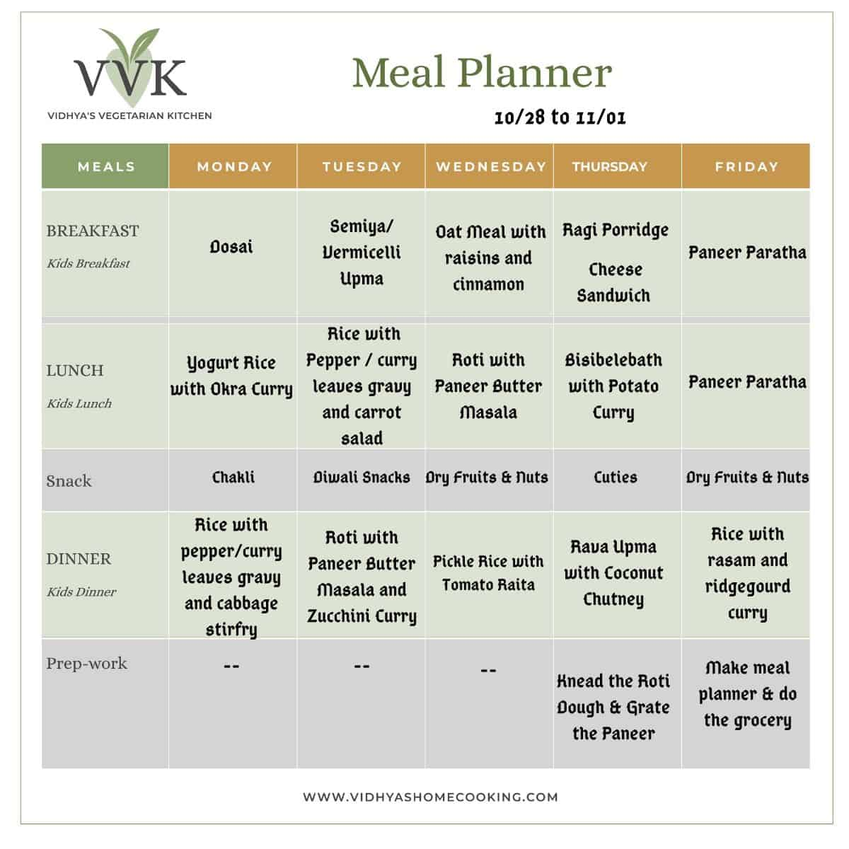 simple and light meal planner