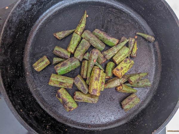 charred okra