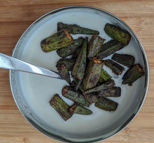 adding okra to the yogurt
