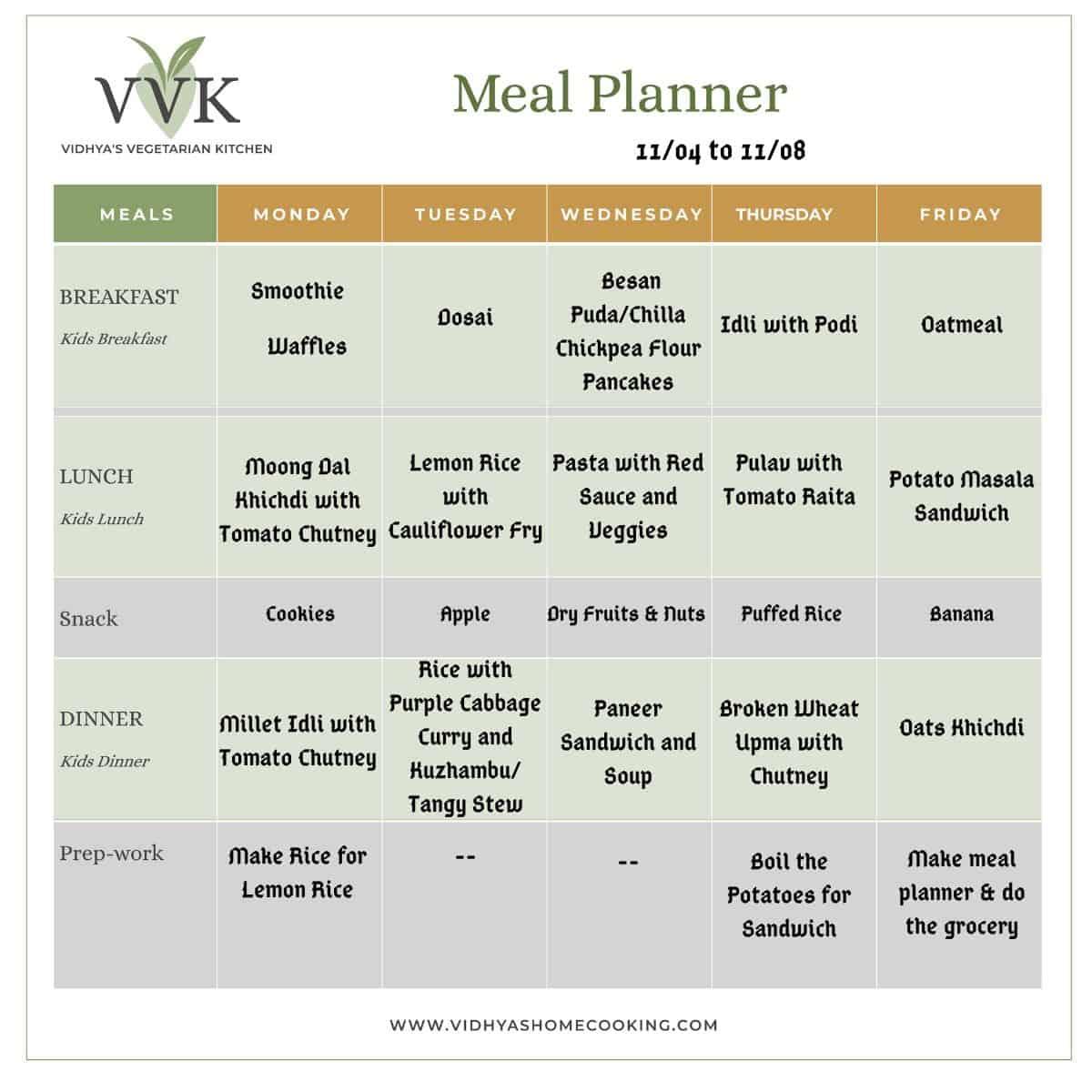 busy week meal planner