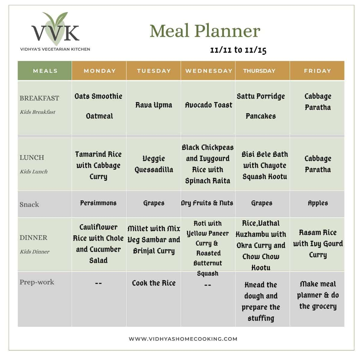 indian seasonal meal planner