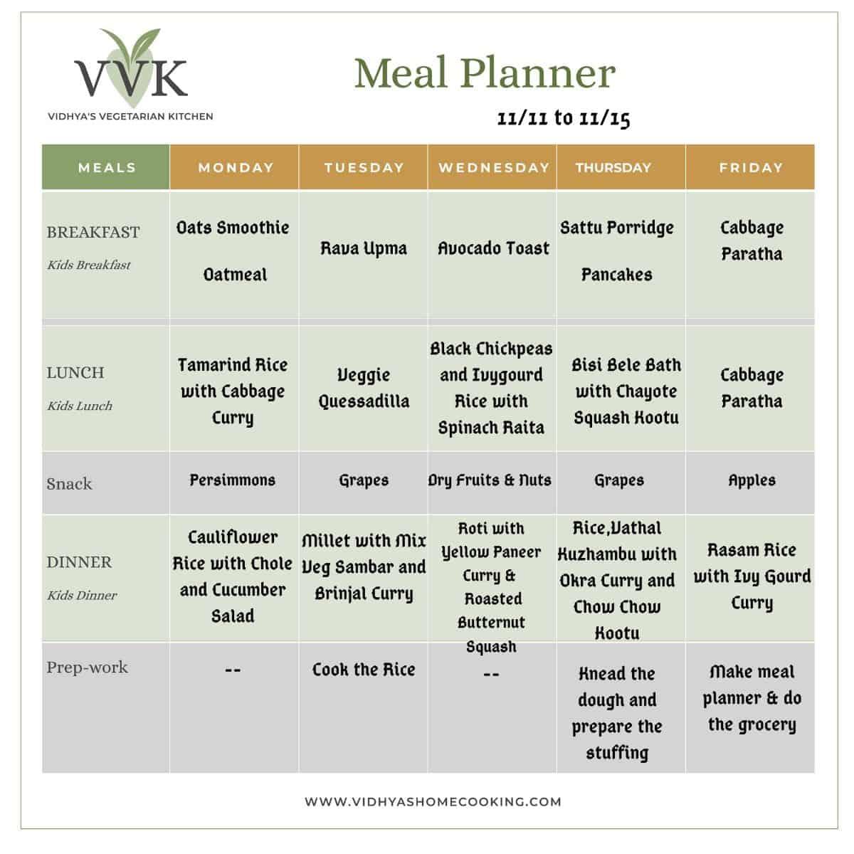 indian seasonal meal planner