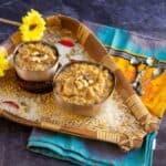 pressure cooker chakkarai pongal bowls placed in a muram