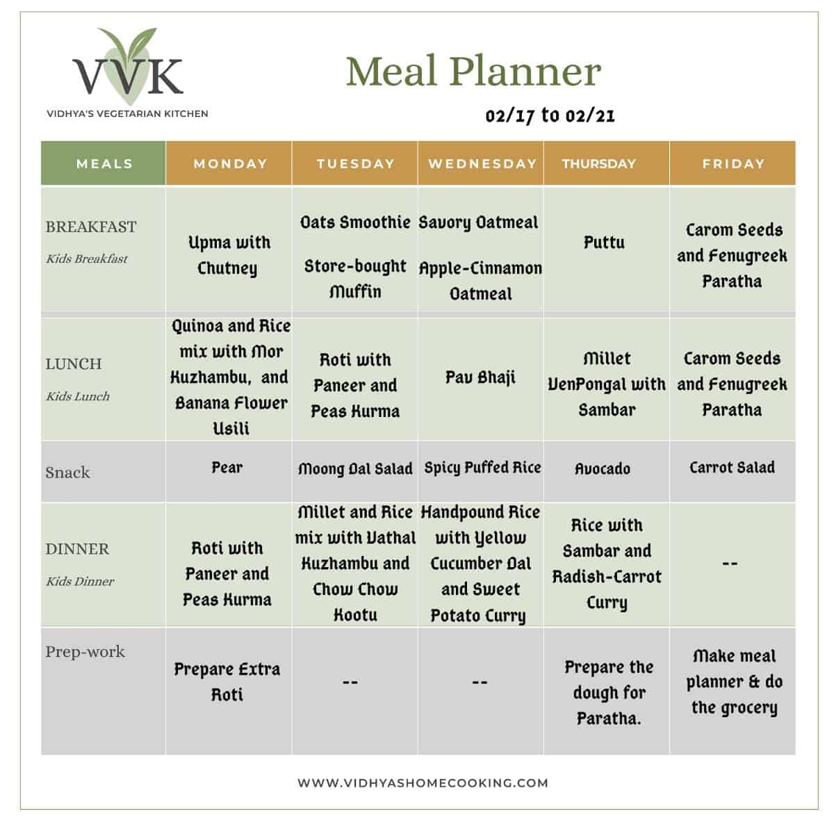 weekly meal planner with grain options