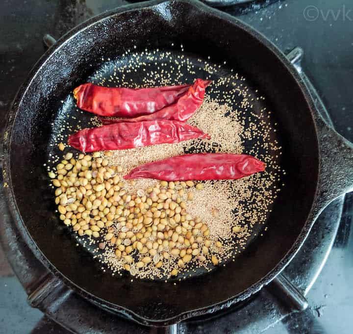 roasting the spices for vathal kuzhambu