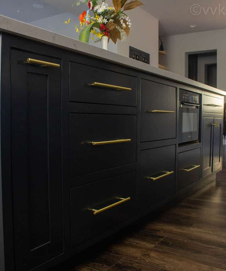 closer look of custom cabinets with brass handles