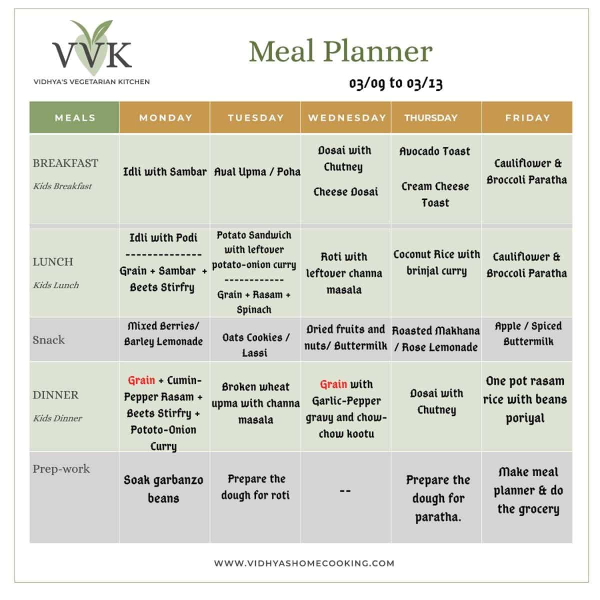 indian meal planner with leftover makerover ideas