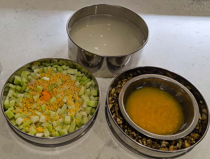 cooking in pressure cooker stackable pans