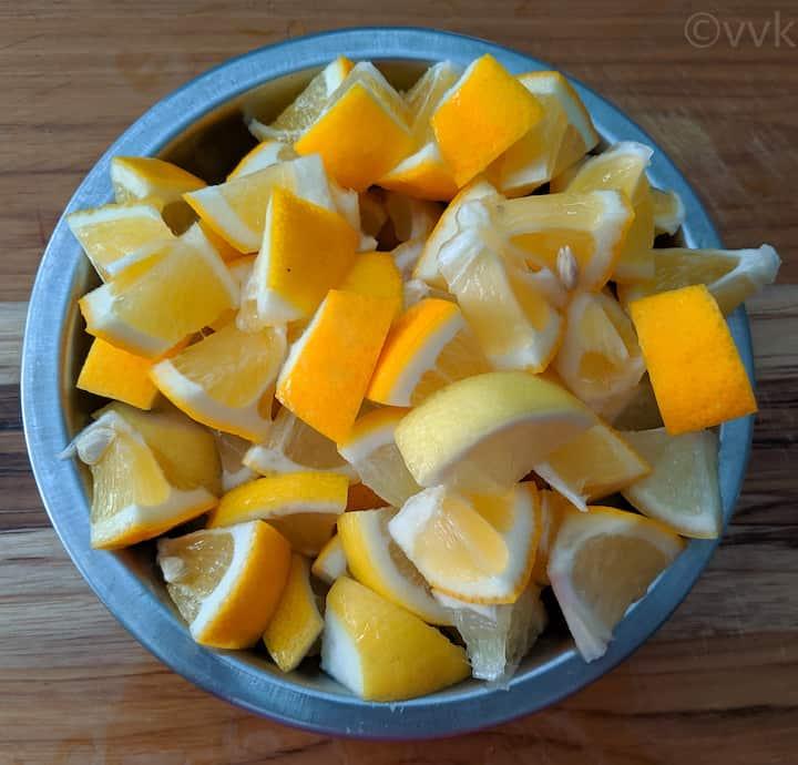 cut lemons for lemon pickle