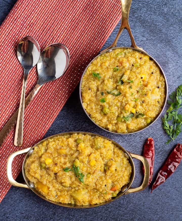 top angle shot of quinoa sambar rice