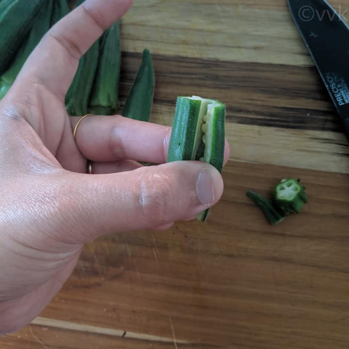 showing the cut okra which is still intact
