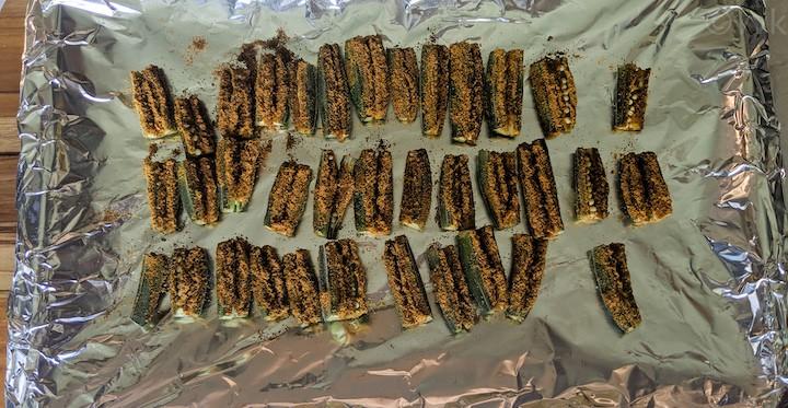 baked okra after 15 minutes