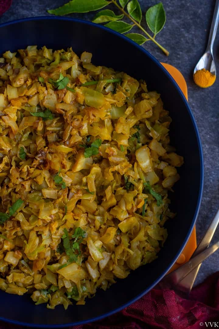 close up shot of cabbage curry