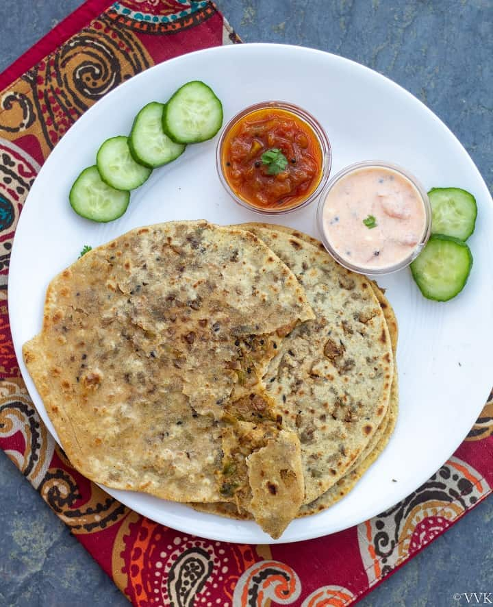 torn paratha to show the filling