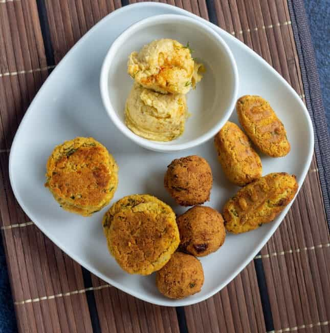square image of air fried deep fried and baked falafel