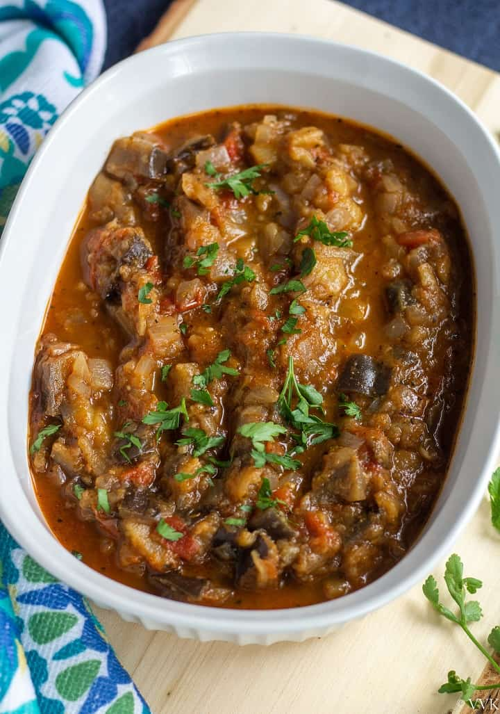 closeup shot of greek style eggplant stew