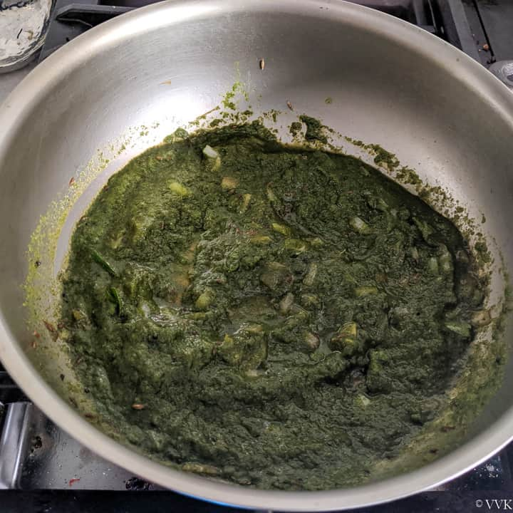 cooking the mint rice paste