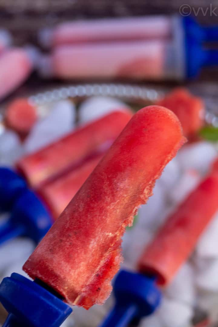 close up shot of single watermelon popsicle