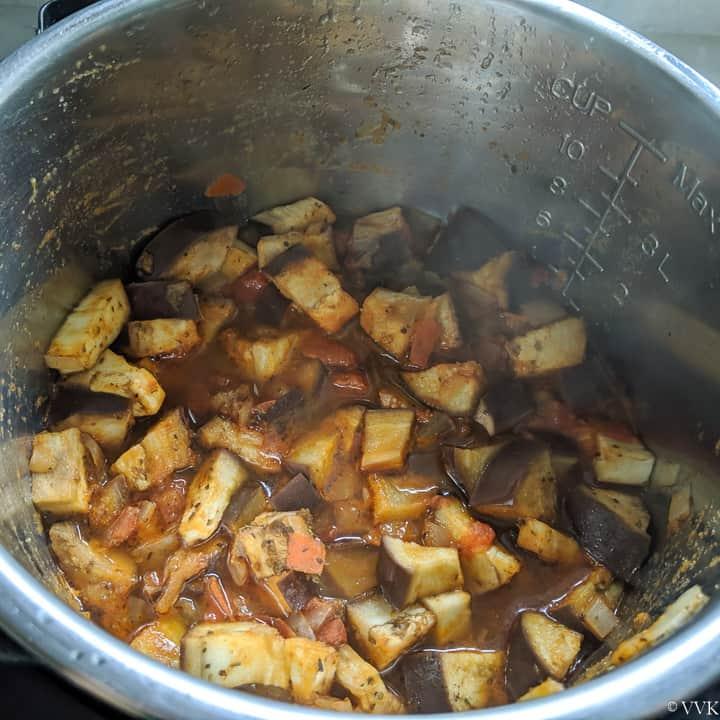 cooked eggplant stew