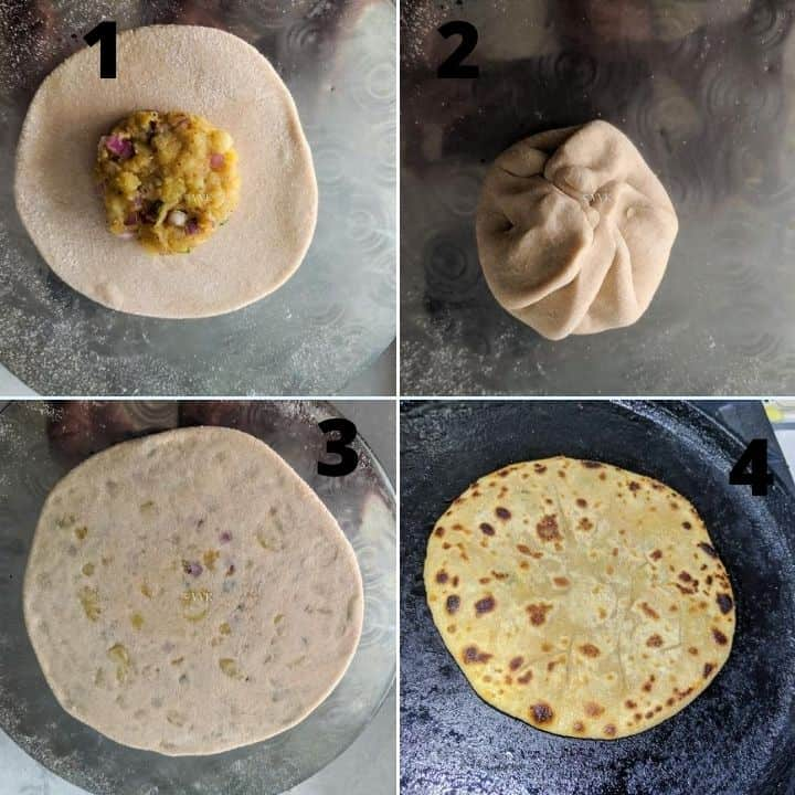 rolling and cooking the paratha