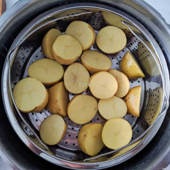 pressure cooking the potatoes