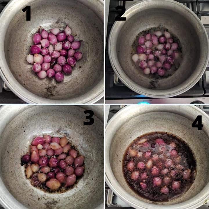 cooking shallots for sambar
