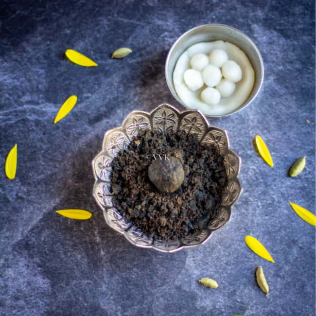 sesame seeds ladoo served in silver ware