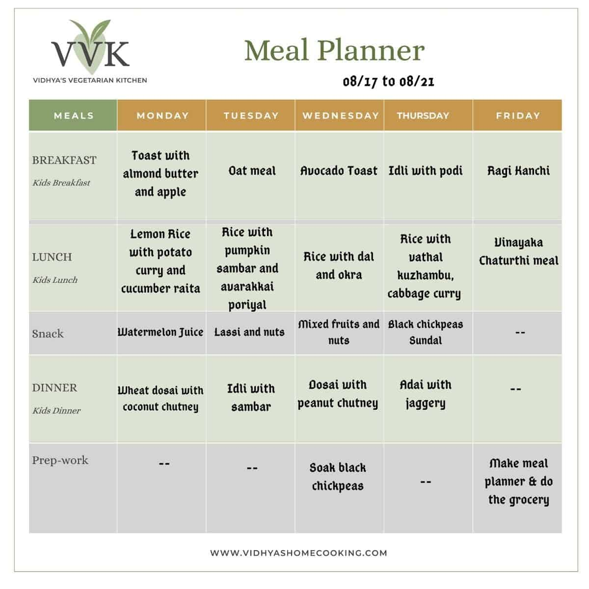 south indian vegetarian meal planner